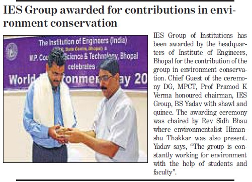 World Environment day celebrated (IES Group of Institutions)
