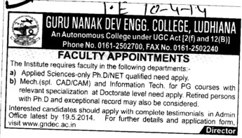 Faculty for CAD CAM and Applied Sciences (Guru Nanak Dev Engineering College (GNDEC))