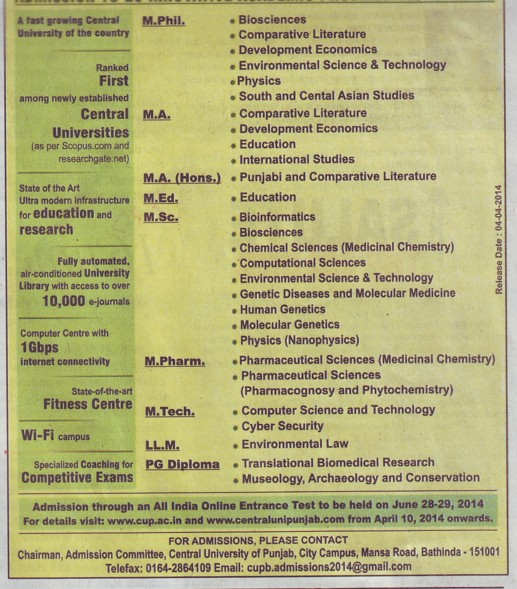 MA, MSc and B Ed (Central University of Punjab)
