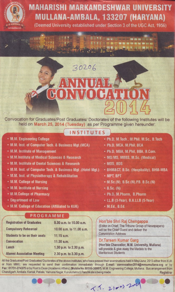 Annual Convocation held (Maharishi Markandeshwar University)
