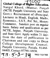 Lecturer in Hindi and English (Global College of Higher Education)
