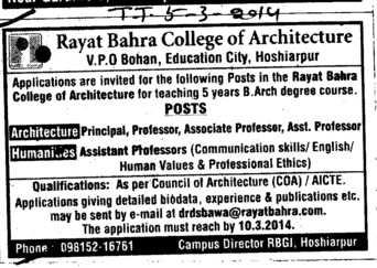 Principal and Asstt Professor (Rayat Bahra College of Architecture Bohan)