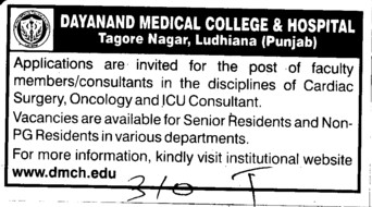 Consultant in oncology (Dayanand Medical College and Hospital DMC)