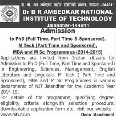 PhD and M Tech (Dr BR Ambedkar National Institute of Technology (NIT))
