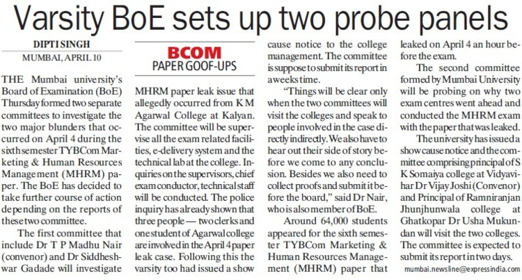 Varsity BoE sets up two probe panels (University of Mumbai)