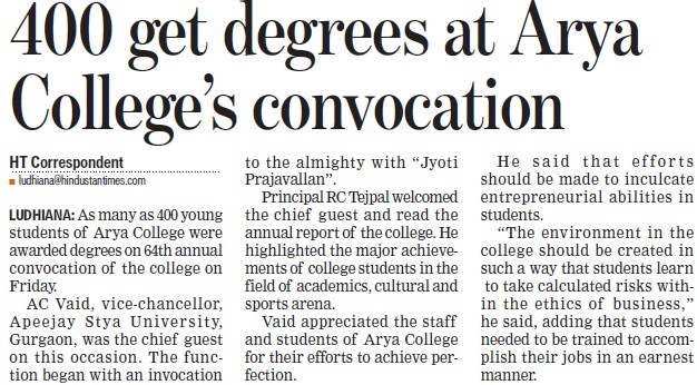 400 get degrees at Arya College Convocation (Arya College)