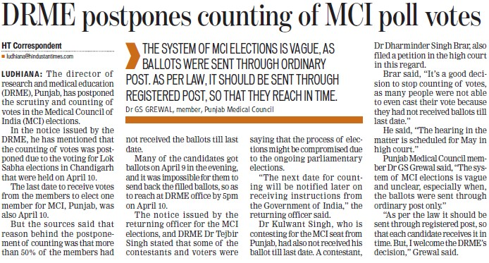 DRME postpones counting of MCI poll votes (Director Research and Medical Education DRME Punjab)