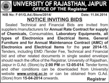 Supply of Laboratory equipments (University of Rajasthan)