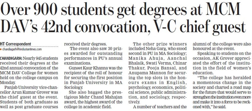 Over 900 students get degrees at MCM DAVs 42nd convocation (MCM DAV College for Women)