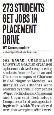 273 students get jobs in placement drive (Chandigarh University)