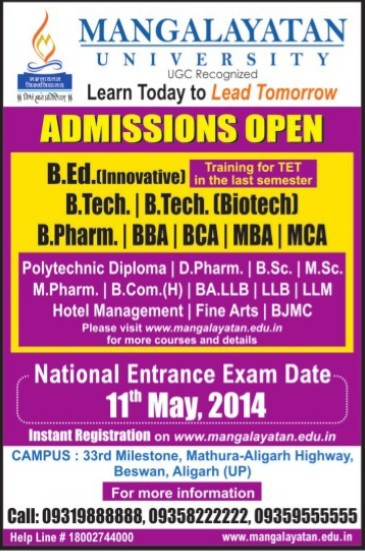 B Tech, BBA and BCA (Mangalayatan University)
