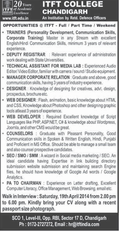 Web Designer and Technical Assistant (ITFT-Institute of Tourism and Future Management Trends)