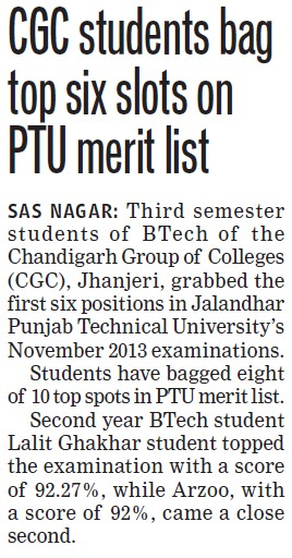 CGC students bag top six slots in PTU merit list (Chandigarh Group of Colleges)