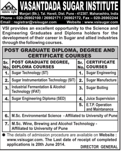 PG Courses in Sugar Technology (Vasantdada Sugar Institute (VSI))
