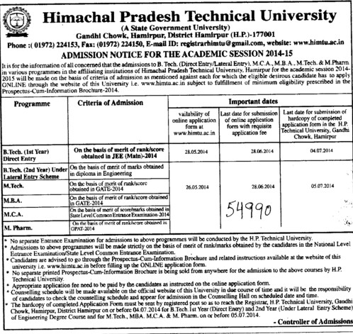 B Tech, MBA and M Pharm (Himachal Pradesh Technical University HPTU)