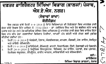 Change in advertisement (DPI Colleges Punjab)