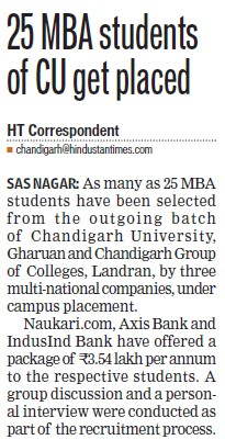 MBA students get placed (Chandigarh University)