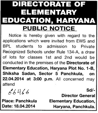 Admissions of EWS and BPL students in Pvt recognized school (Department of Higher Education Haryana)