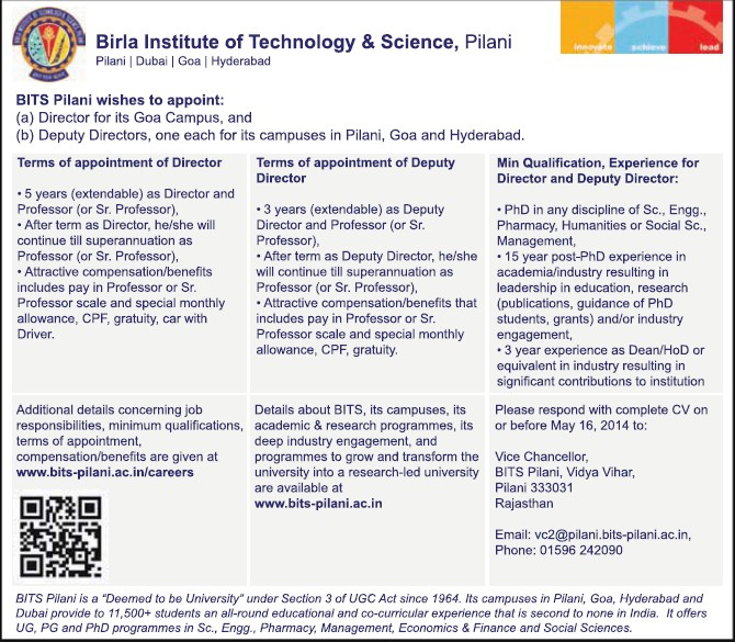 Deputy Director (Birla Institute of Technology and Science (BITS))