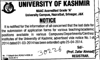 Submission of application forms (Kashmir University)