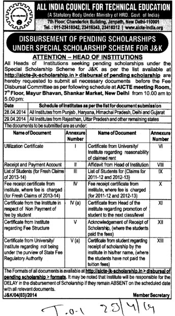 Disbursement of pending scholarships (All India Council for Technical Education (AICTE))