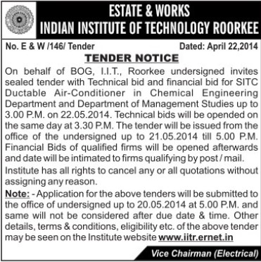 Supply of AC in Chemical Engineering Deptt (Indian Institute of Technology (IITR))