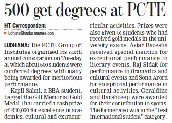 500 students get degrees (PCTE Group of Insitutes Baddowal)