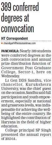 389 conferred degrees at convocation (Post Graduate Government College (Sector 11))