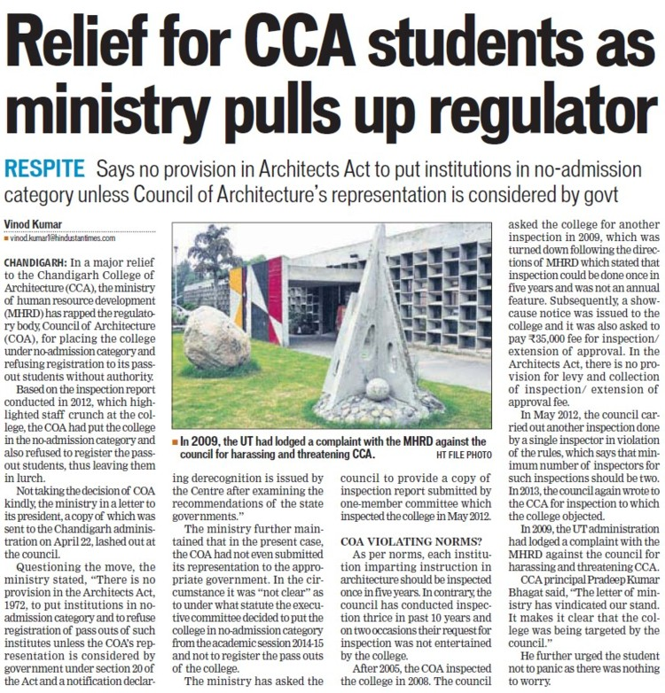 Relief for CCA students as ministry pulls up regulator (Chandigarh College of Architecture)