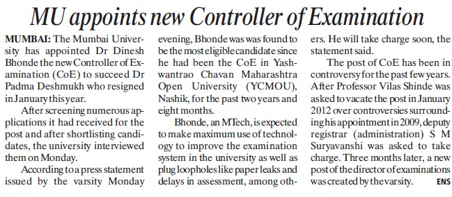 MU appoints new CoE (University of Mumbai)