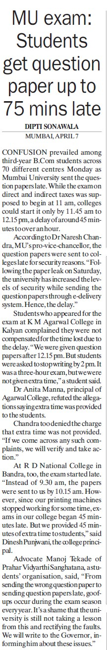 Students get question paper up to 75 mins late (University of Mumbai)