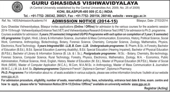 BA and LLB Courses (Guru Ghasidas University)