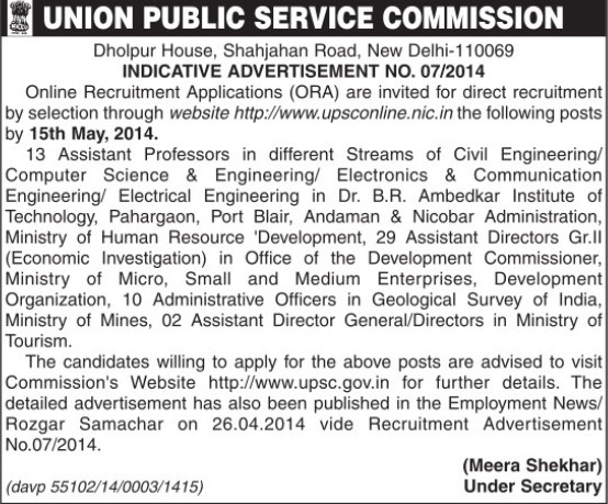 Asstt Professor in Civil Engineering (Union Public Service Commission (UPSC))