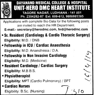 Senior Resident and Physiotherapist (Dayanand Medical College and Hospital DMC)