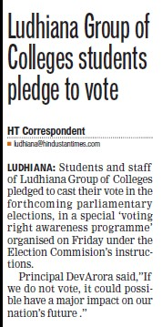 LGC students pledge to vote (Ludhiana Group of Colleges (LGC) Chowkimann)