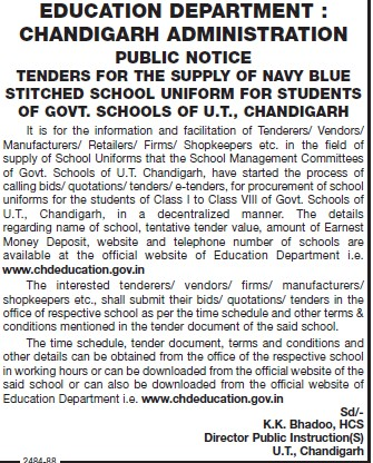 Supply of Navy blue stitched school uniform (Education Department Chandigarh Administration)