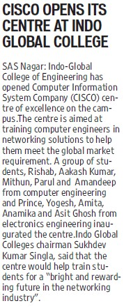 CISCO opens its centre at IGC (Indo Global College of Engineering)