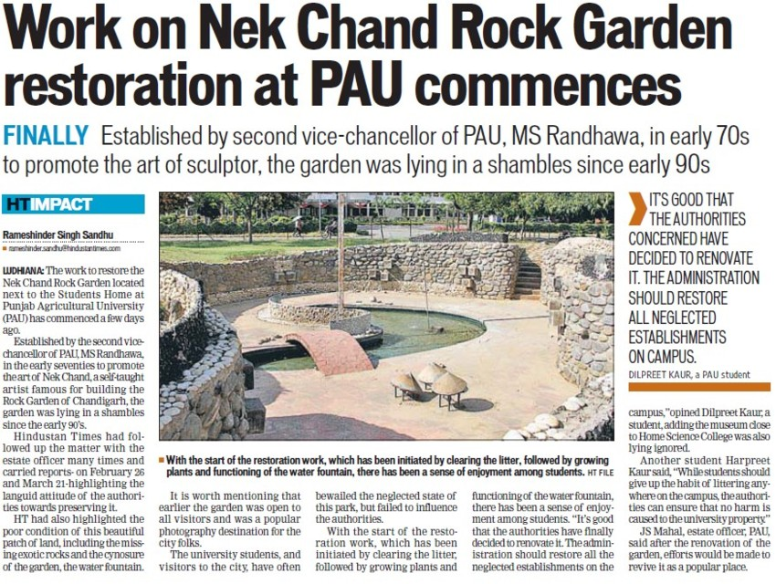 Work on Nek Chand Rock Garden restoration at PAU commences (Punjab Agricultural University PAU)