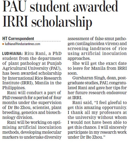 PAu students awarded IRRI scholarship (Punjab Agricultural University PAU)
