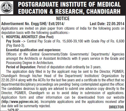 Hospital Architect (Post-Graduate Institute of Medical Education and Research (PGIMER))
