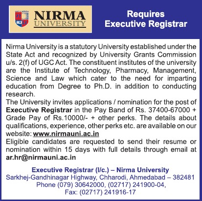 Executive Registrar (Nirma University)