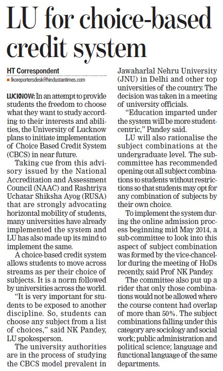 LU for choice based credit system (Lucknow University)