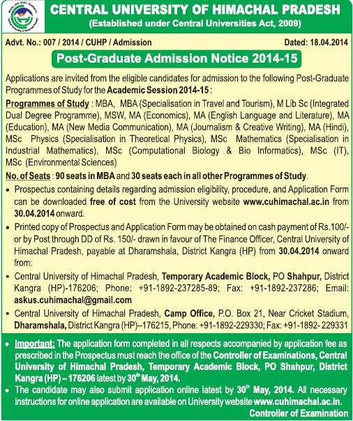 MBA in Travel and Tourism Management (Central University of Himachal Pradesh)