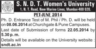 PhD Entrance Test (SNDT Women University)