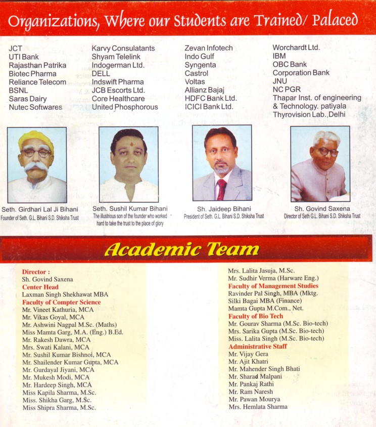 Academic team of BIMIT (Seth Sushil Kumar Bihani SD Institute of Management and Information Technology (BIMIT))