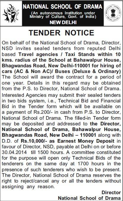 Supply of AC and Non AC busses (National School of Drama)