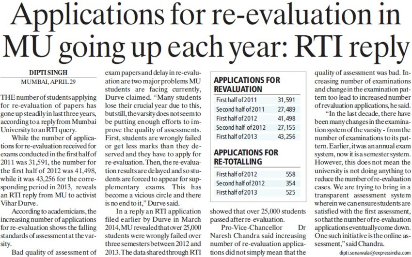 Applications for re evaluation in MU going up each year, RTI reply (University of Mumbai)