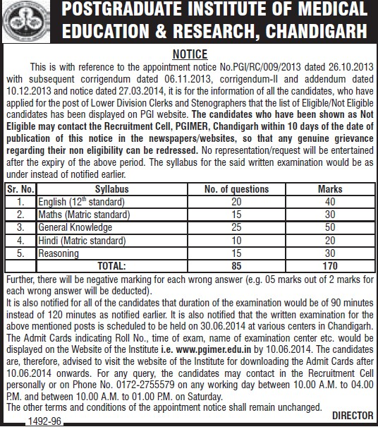 Lower Division Clerk and Stenographers (Post-Graduate Institute of Medical Education and Research (PGIMER))