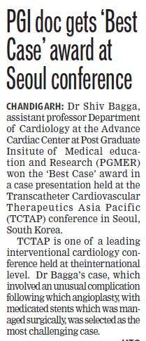 PGI doc gets best case award at seoul conference (Post-Graduate Institute of Medical Education and Research (PGIMER))