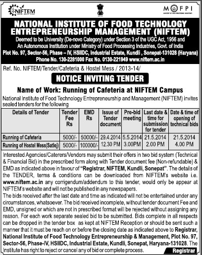 Running of Hostel Mess (National Institute of Food Technology Entrepreneurship and Management (NIFTEM))
